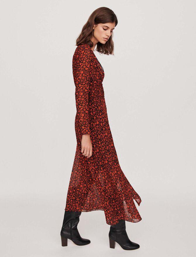 Printed-muslin scarf dress - Dresses - MAJE