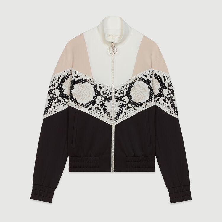 Zipped sweatshirt with python print band : Knitwear color Printed