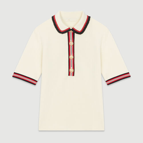 Block-knit polo : Knitwear color Ecru