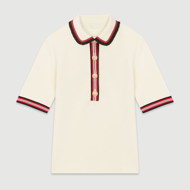 Block-knit polo : Knitwear color Ecru