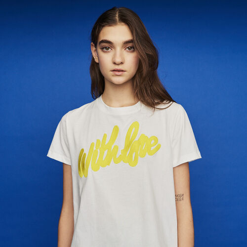 Tee-shirt with embroidered slogan : New in : Summer Collection color White