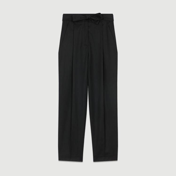 Pleated peg pants in virgin wool : Ready to wear color Black 210