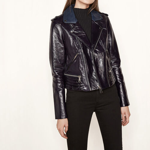 Patent leather jacket with quilting : Blazers & Jackets color Navy