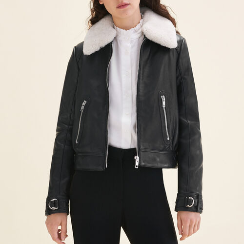 Sheepskin collar aviator jacket : Jackets & Blazers color Black 210