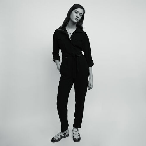 Crepe jumpsuit : Trousers & Jeans color Black 210
