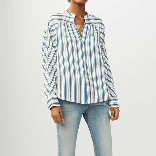 Oversized striped shirt : Tops color Print