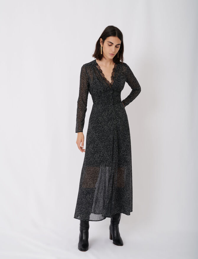 Flocked velvet polka dot jacquard dress - Pixie's story - MAJE
