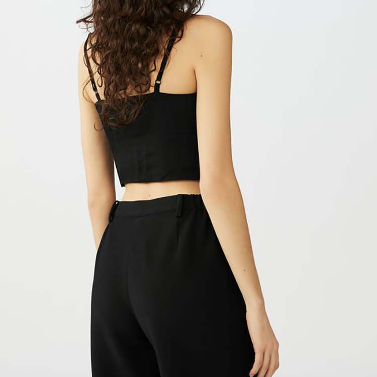 Spaghetti strap crop top : Tops color Black 210
