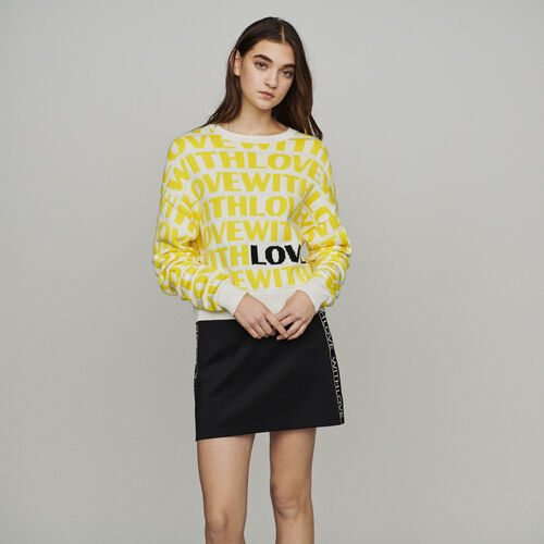 Jacquard sweater with slogan : New in : Summer Collection color Yellow