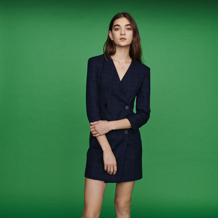 Suit dress in plaid : Dresses color Navy
