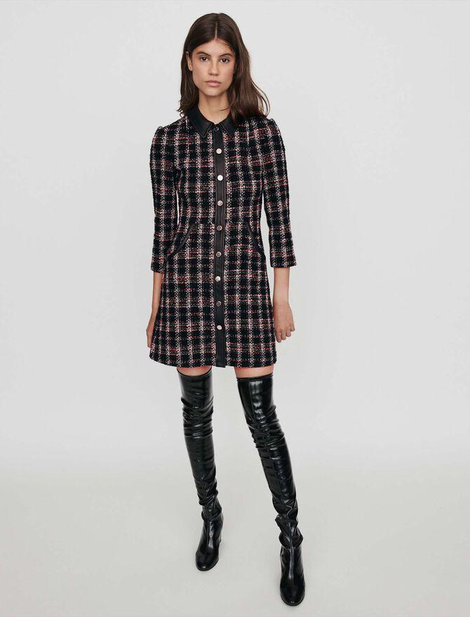 Tweed-style contrast dress - Dresses - MAJE