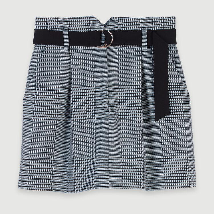 Short belted plaid skirt : Skirts & Shorts color Blue
