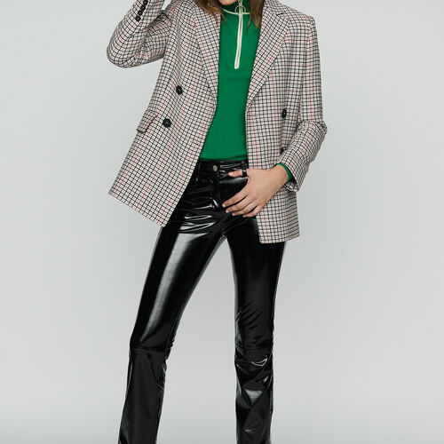Plaid wool-blend blazer : Office girl color CARREAUX