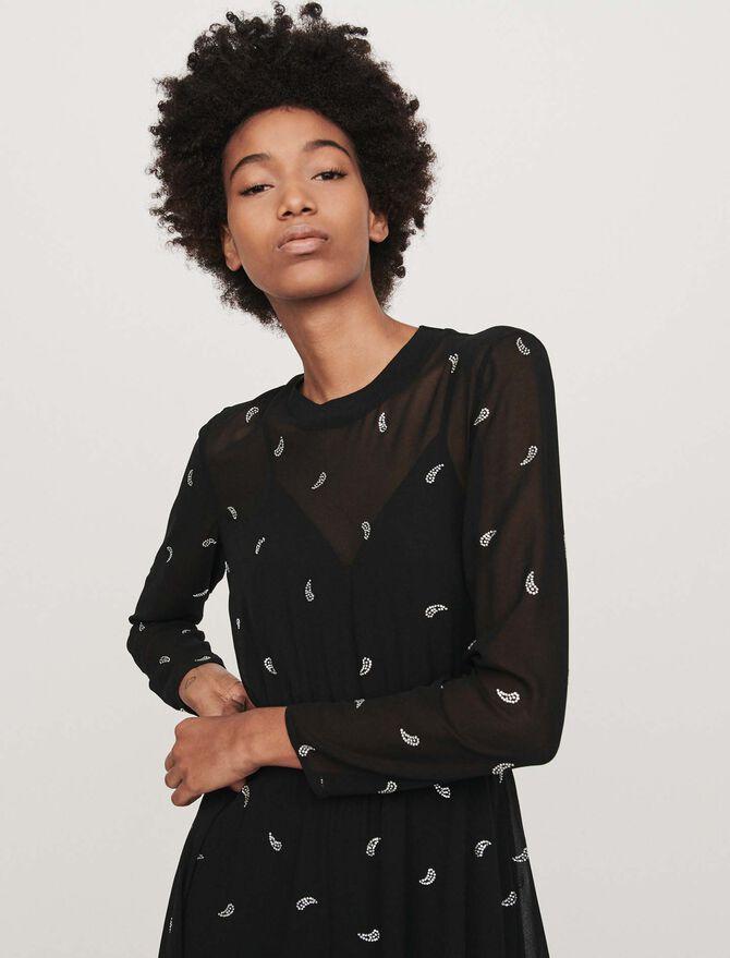 Cashmere scarf dress with strass motif - -40% - MAJE