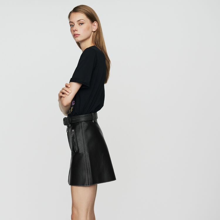 Leather A-line skirt : See all color Black 210