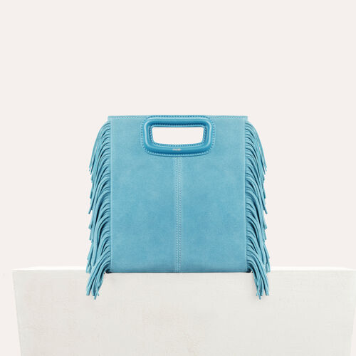 M bag in suede : M bag color Blue