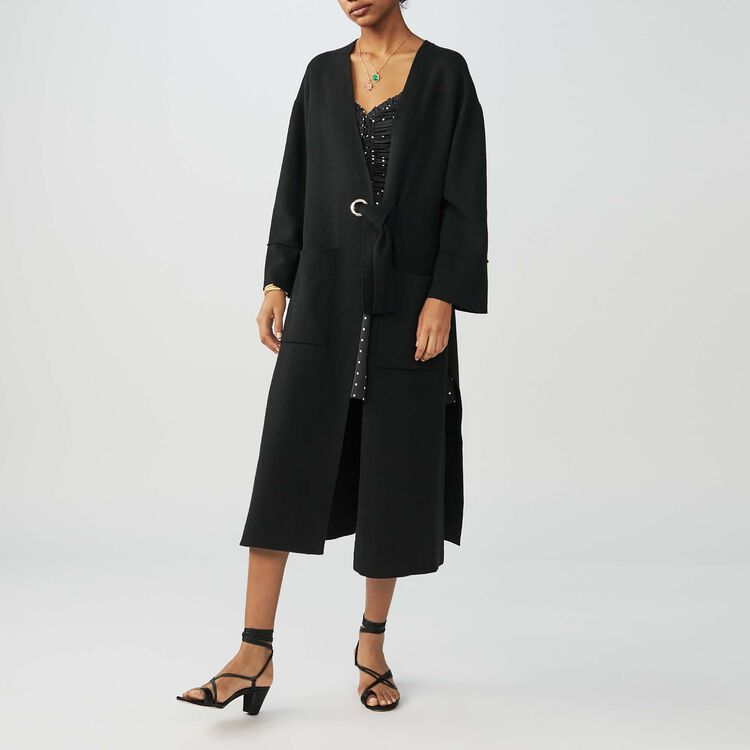 Long belted cardigan : Knitwear color Black 210