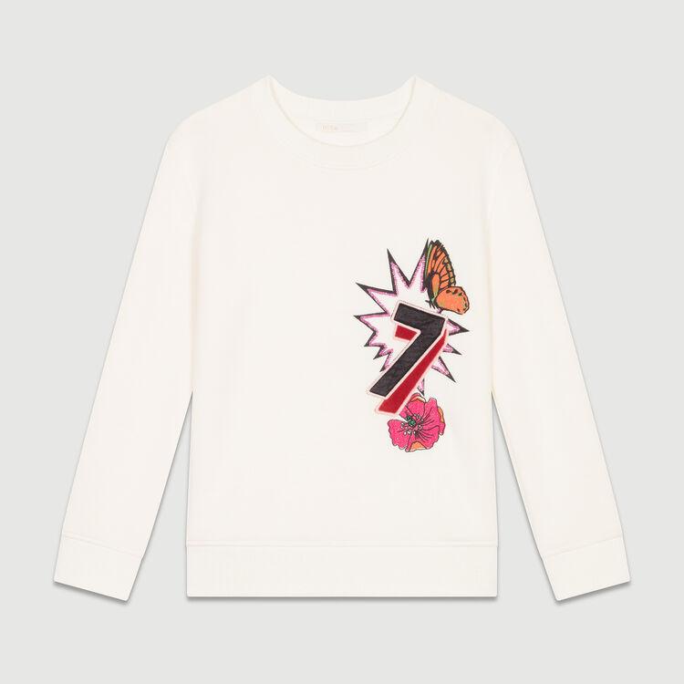 Quilted print sweatshirt : Knitwear color ECRU