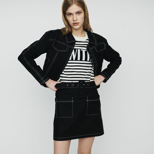 Cropped jacket with stitched detailing : Jackets color Black 210
