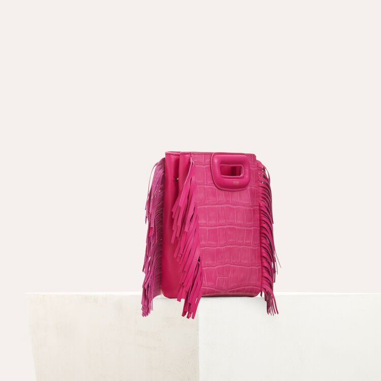 Mini M bag with crocodile fringe : M Mini color Pink