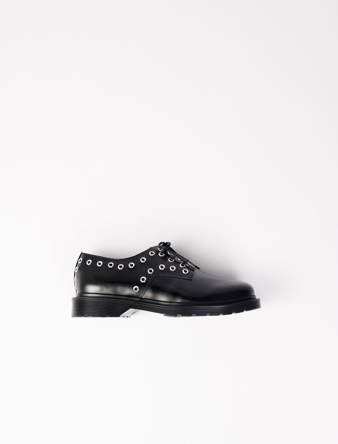 Smooth leather derbies with eyelets - Slipper - MAJE