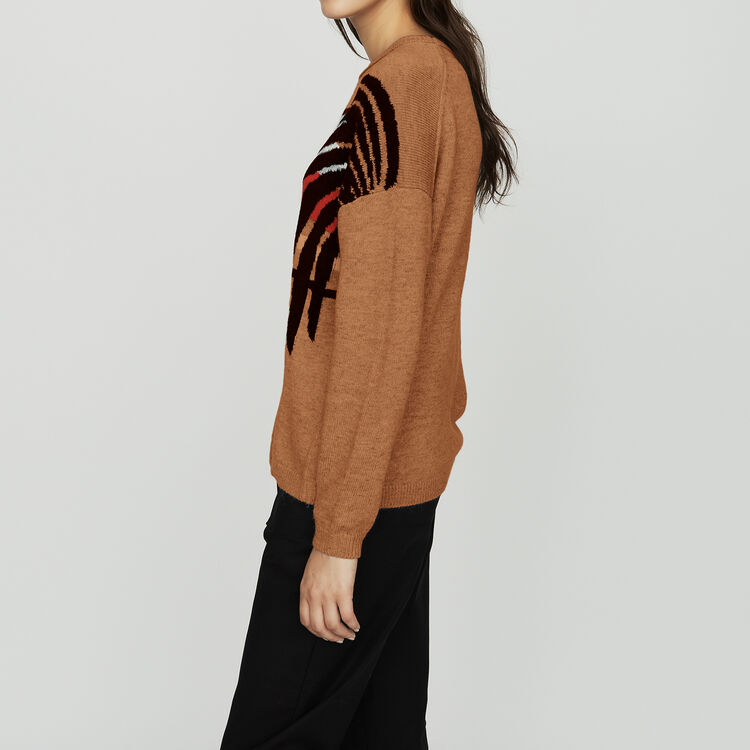 Long sleeves sweater : Knitwear color Camel