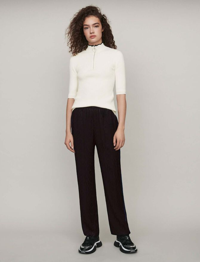 Flowing satin jacquard pants - Trousers & Jeans - MAJE