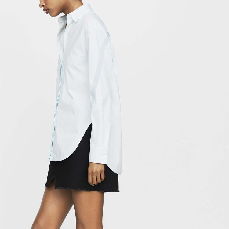 Oversized shirt with grosgrain : Ready to wear color Blue Sky
