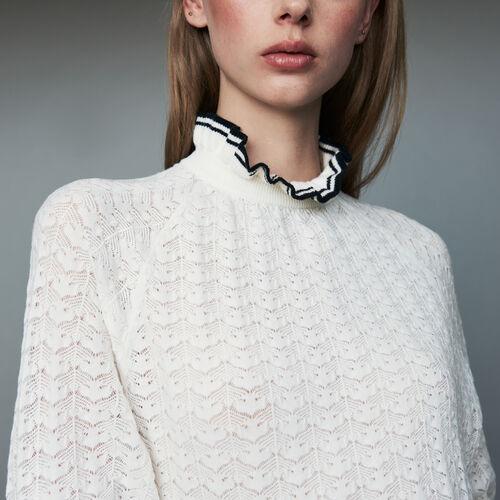 Sweater in chevron knit : Ready to wear color ECRU