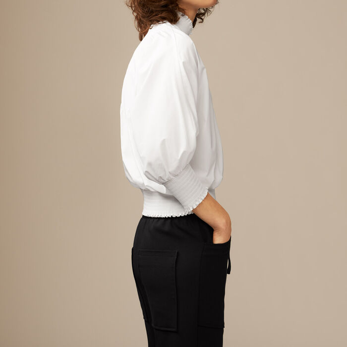 Cotton blouse : Tops color White