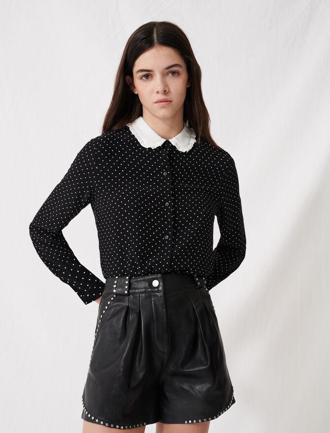 Polka dot shirt with contrasting collar -  - MAJE