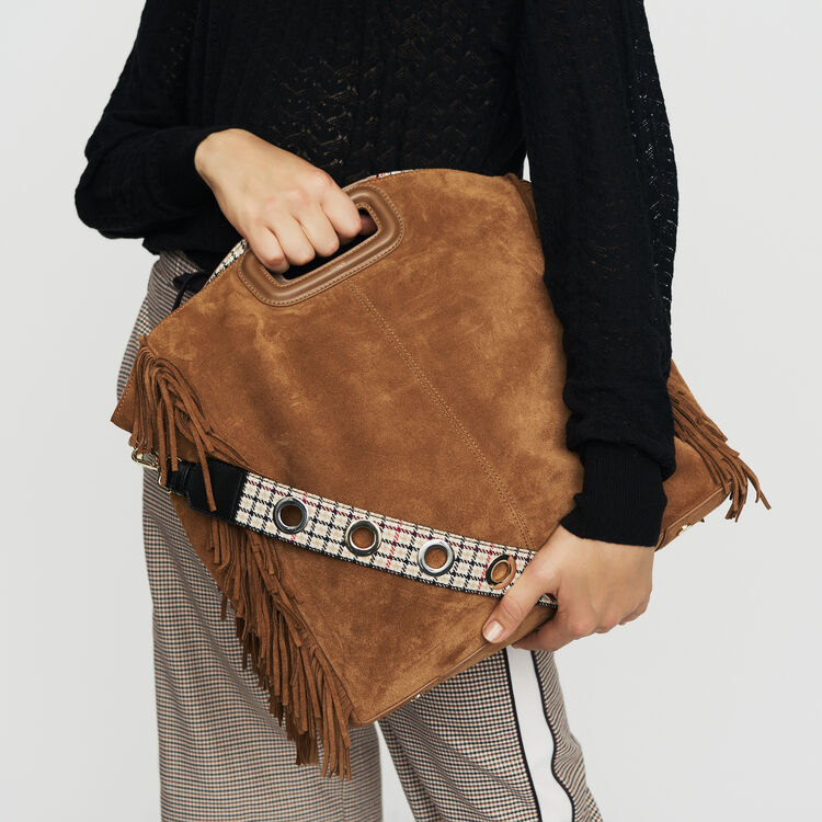 Tote with leather fringe : Other M color Camel