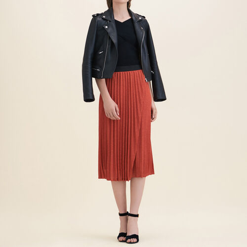 Lurex knit pleated skirt : Skirts & Shorts color Orange