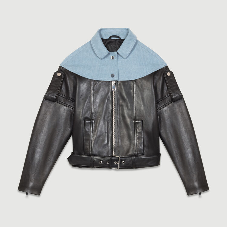 Leather and denim jacket : Jackets color Black 210