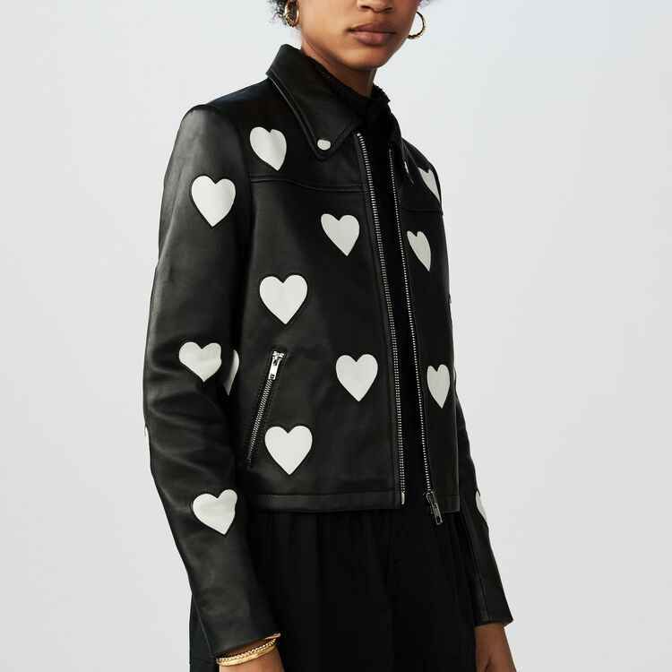 Cropped leather jacket with hearts : Jackets color Black 210