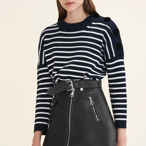 Breton jumper with velvet buttons : Sweaters & Cardigans color Navy