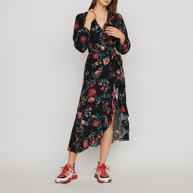Long printed wrap dress - Summerparty-Robes-IT - MAJE