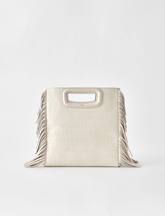 Crocodile embossed-leather M bag : M bags color Ecru