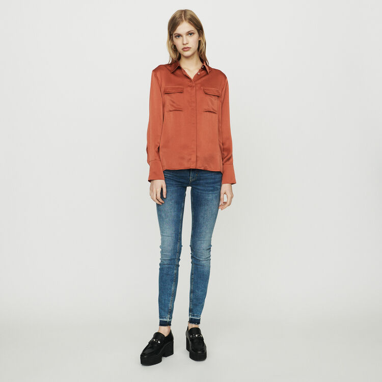 Silk blouse : Tops & Shirts color Terracota