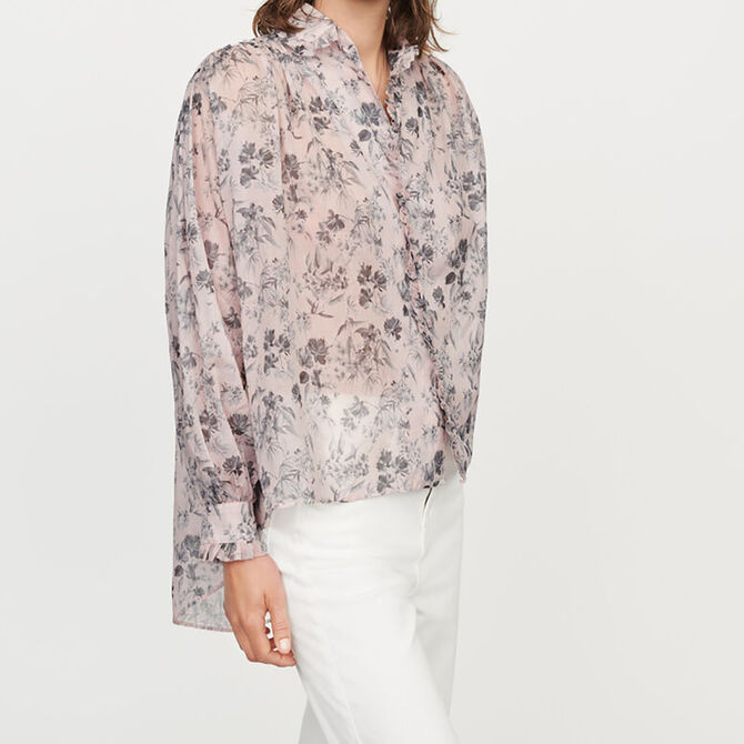Printed- cotton voile shirt - staff private sale 20 - MAJE