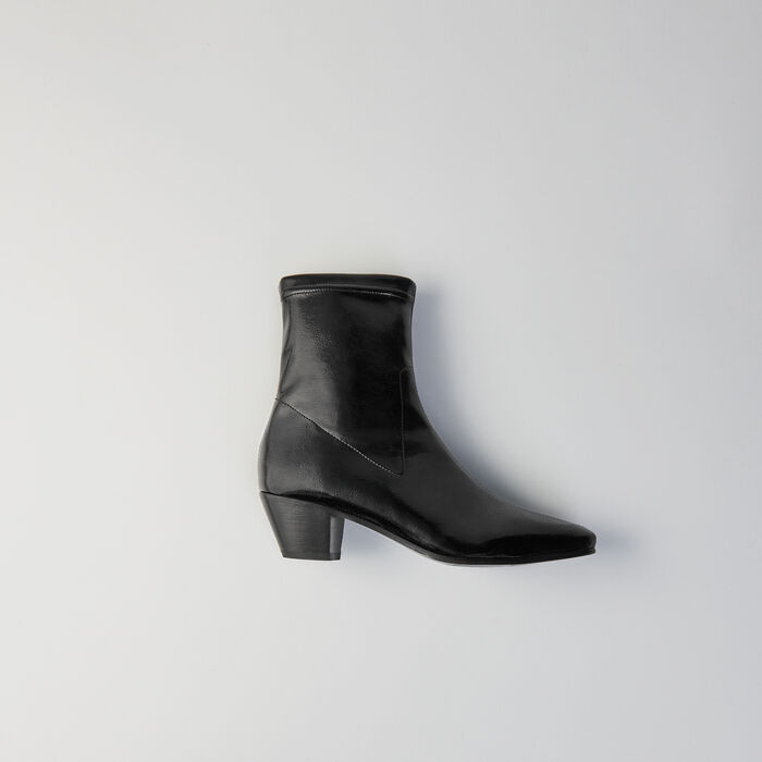 Heeled stretch vinyl booties : Booties & Boots color Black