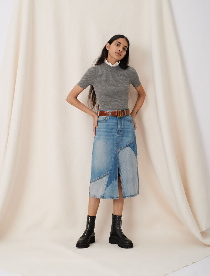 Midi denim skirt with patches and slit - Skirts & Shorts - MAJE