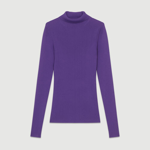 Turtleneck skinny ribbed sweater : Knitwear color Purple