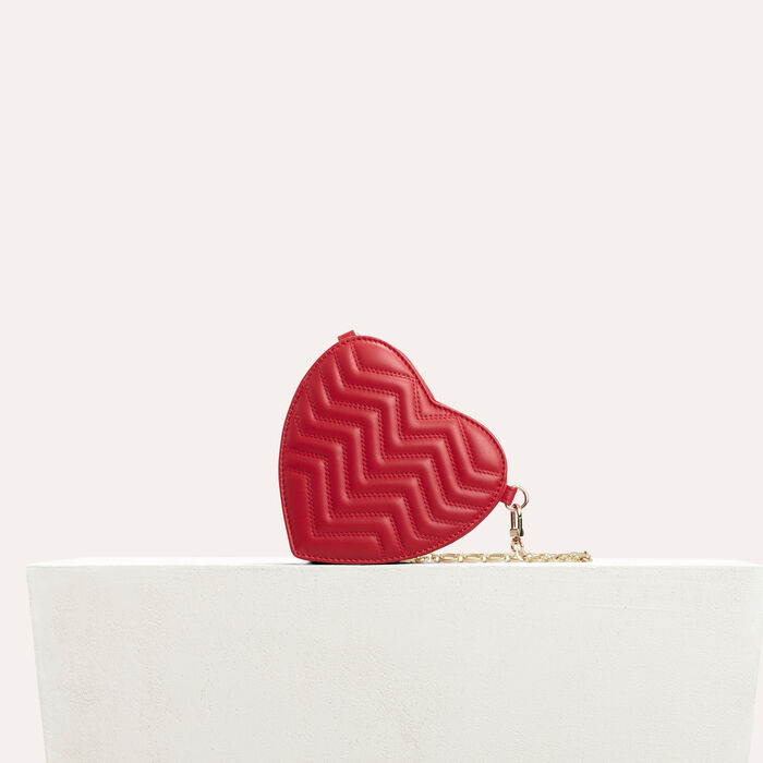 Quilted leather heart-shaped saddle bag : The Essentials color Red