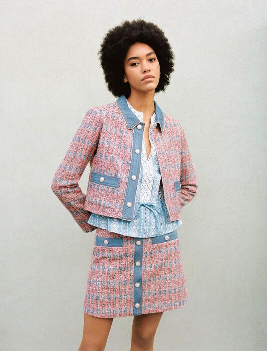 Tweed jacket with denim contrasts : Blazers color Red