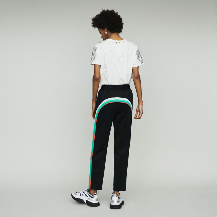 Sport pants with contrasting side bands : Trousers color BLACK