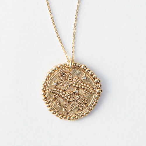 Pisces zodiac sign necklace : All accessories color Old Brass