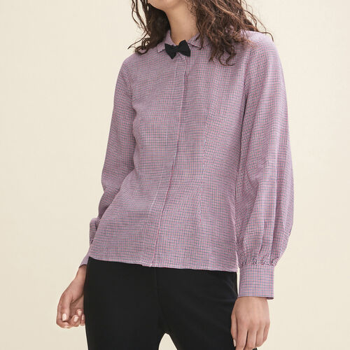 Micro-checked shirt : Tops color PRINTED