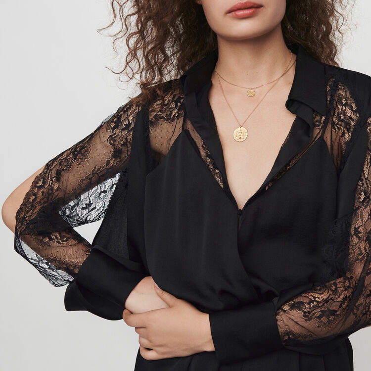 Satin and lace playsuit : Winter collection color Black