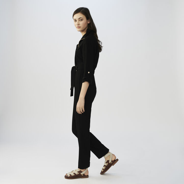 Crepe jumpsuit : Jumpsuits color Black 210